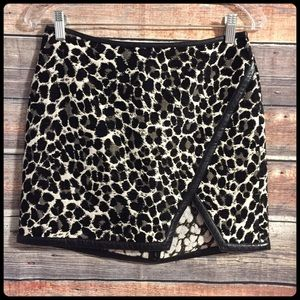 Express textured leopard print faux leather skirt